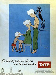 """""""En famille lavez vos cheveux, une fois par semaine"""". Affiche Dop. Van Moppès. 1956."""