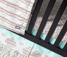 Feather, Tribal Crib Bedding, Mint arrow, girl crib bedding, baby bedding, nursery, girl nursery