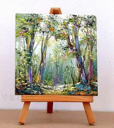 Forrest And Tranquility. Mini Canvas Art, Canvas Artwork, Art Corner, Mini Paintings, Pictures To Paint, Painting Inspiration, Flower Art, Art Drawings, Art Projects