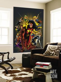 The Official Handbook Of The Marvel Universe: The Women of Marvel 2005 Cover: Spider Woman Charging Wall Mural by Greg Land at Art.com