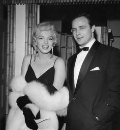 """Marilyn and Marlon Brando at the premiere of """"The Rose Tattoo"""", December 12th 1955."""