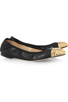 Valentino | Leather and studded metal flats | NET-A-PORTER.COM