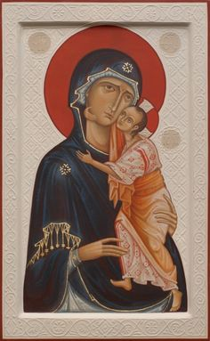 Holy Virgin of Tenderness with relief background. 2009 Olga Shalamova