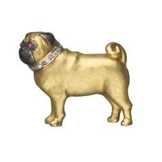 Pug Brooch: 18k gold with ruby eyes and diamond collars. Handmade in England.