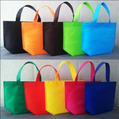 Free shipping Size 33*26*10cm10 Different colour non woven shopping bags recyle non woven bags with handles 10pcs/lot-in Shopping Bags from ...