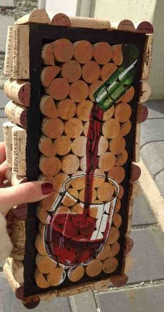 original wine cork painting by artofnellieb on Etsy, $85.00 Unique Xmas Gift for the wino's out there!