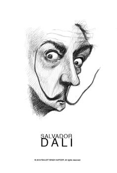 """Salvador Dali"" by Ravjot Singh Line Drawing, Drawing Sketches, Drawings, Dali, Spain Culture, Figurative Art, Art History, Surrealism, Street Art"