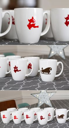 DIY vinyl Christmas mugs made with Cricut Explore -- Andrea's Notebook… Diy Christmas Mugs, Christmas Vinyl, Personalized Christmas Gifts, All Things Christmas, Holiday Crafts, Holiday Fun, Christmas Ideas, Xmas, Cricut Explore Projects