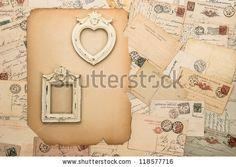 antique picture frames, old letters and handwritten postcards. nostalgic vintage background