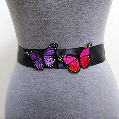 Butterfly belt, Sash belt, Bridal belt, Wedding dress belt, Black belt, Wedding belt, Bridesmaid belt, Bridal sash, Butterfly sash  by MagicSashAccessories on Etsy