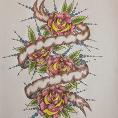 Roses / banner art tattoo sketch by - Ranz