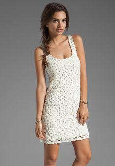 Joie Elida Crochet Dress in Porcelain in White