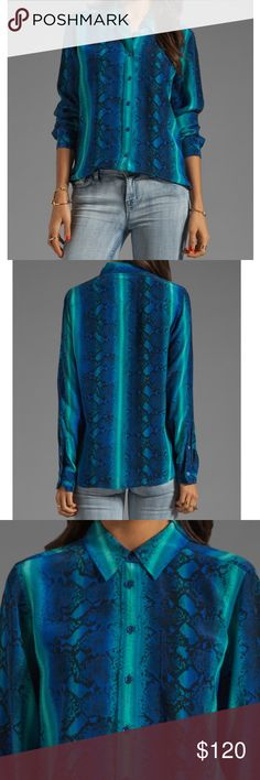 Equipment Brett Rainbow Diamondback Printed blouse This is the sold out Equipment Brett Rainbow Diamondback printed blouse in regal blue multi pattern. It is a NWOT vibrant blue, green, and teal top with a snake print and blue buttons. It is a delicate silk fabric, but not necessarily sheer. It is a very sexy blouse, but still professional and stylish! Easily work or night wear, you're sure to get compliments galore! It goes perfectly with white skinnies and neon pumps (Jules Cobb style!)…