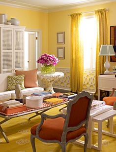 Yellow Living Room Beautiful Wainscoting In Walls