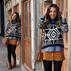 Suéter estampa étnica com Saia de Botões Retrô de Suede Look