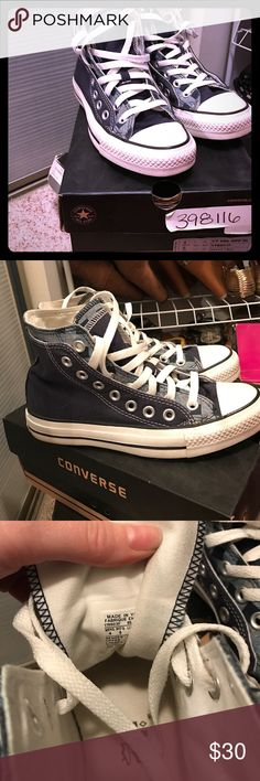 "Size 4 in men's converse Very clean, crispy white converse. They are called ""the double up"" because of the two color layers. Navy, light blue and white. Great condition. Converse Shoes Sneakers"
