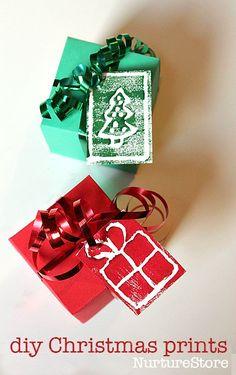 diy block printing christmas card craft - great for homemade gift tags :: mono prints for kids