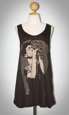 Ian Curtis JOY DIVISION Charcoal Black Sleeveless Indie Punk Rock Tank Top Mini Dress Women T-Shirt Size L-XL