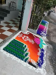 Rangoli designs _ dipu Indian Rangoli Designs, Simple Rangoli Designs Images, Rangoli Designs Latest, Rangoli Designs Flower, Rangoli Border Designs, Rangoli Patterns, Colorful Rangoli Designs, Rangoli Ideas, Flower Rangoli