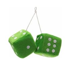 """Vintage Parts 14558 3"""" Green Fuzzy Dice with White Dots - Pair $7.21"""