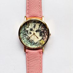 North Pole Map Watch Vintage Style Leather Watch by FreeForme