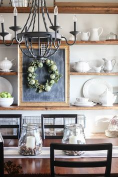 styled dining room shelving | shelving, ceiling and wood grain