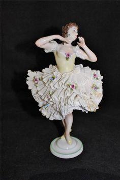 """Antique Unterweissbach Dresden Lace Porcelain Figurine, Ballerina Dancer, 9"""" #Unterweissbach"""