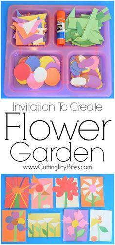 Invitación Creación: El jardín de flores . De boca abierta del arte de papel de primavera creativa para los niños . Grande para el desarrollo de la motricidad fina . Perfecto para niños pequeños y preescolares .