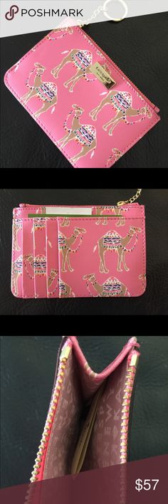 ♠️Kate Spade♠️ bitsy Adorable Kate Spade bitsy in liberty street camel party, pink multi color. Has zippered compartment, 4 card slots, and an additional pocket for cards, id, or money. Also has gold key chain for keys or to attach to something else. This is so, so cute!!! NWT Kate Spade Accessories Key & Card Holders