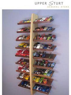 DIY Hot Wheels Storage Shelf Tutorial : perfect for kids playroom or bedroom. Hot Wheels Storage, Toy Car Storage, Truck Storage, Display Shelves, Shelving, Toy Display, Display Ideas, Toy Rooms, Kid Spaces