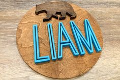 Decorate your nursery with this stylish, modern wooden name sign! Everything is hand crafted with a whole lot of love!  Each piece will be cut, sanded, painted and stained by hand. The stain may vary due to the grains and knots from the wood. That is what makes your sign so unique! Wood Name Sign, Wood Names, Wood Letters, Name Signs, Wood Signs, Personalized Wooden Signs, Nursery Signs, Handmade Wooden, Knots