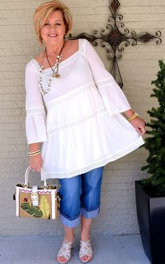 50 Is Not Old | White crochet dress/tunic | Spring outfit | Fashion over 40 for the everyday woman