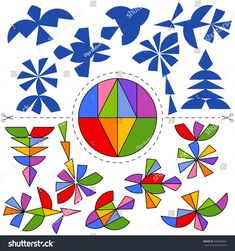 Vetor stock de Vector Tangram Circle Geometric Puzzle Collection (livre de direitos) 694446262 Tangram Puzzles, Origami Patterns, Handmade Gift Tags, Educational Crafts, Math Art, School Posters, Math Class, Busy Book, Puzzles For Kids