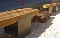 Reclaimed wood benches. Shades of Green Landscape Architecture