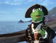 A Cravat A Day.: Kermit the Frog as Captain Smollett in 'Muppet Treasure Island' Kermit The Frog, Treasure Island, A Decade, Puppets, Pirates, Color Schemes, Tv Series, Day, Classroom Door