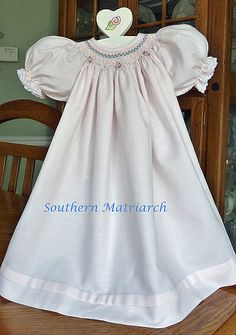 Pink smocked bishop, size 3-6 months. Poly/cotton winter twill from Australian Smocking and Embroidery.