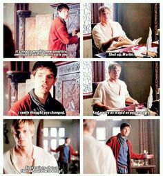 Haha, I love Merlin's face when he asks, a fun jab to put Arthur in a good mood again. That sarcastic smile! :)