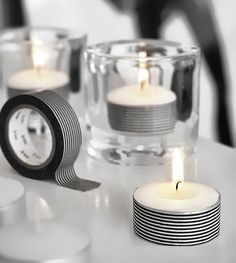 Add decorative tape or ribbon to tea lights-clever idea