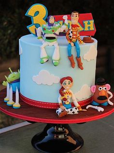 Toy story cake - Toys for years old happy toys Cumple Toy Story, Festa Toy Story, Toy Story Party, Toy Story Birthday Cake, 3rd Birthday Cakes, 4th Birthday, Birthday Ideas, Bolo Toy Story, Toy Story Cakes
