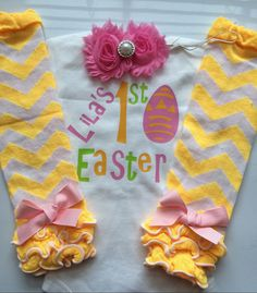 Baby Girl Easter Outfit MY FIRST EASTER outfit  by AboutASprout