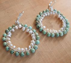 turquoise and fw pearl wrapped earrings by One Sweet Peach, via Flickr