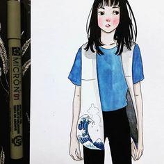 Hokusai girl  . . . . . . #sketchbook #sketch #drawing #draw #illustration #watercolor #watercolorpainting #aquarelle #paint #painting #art #artwork #comic #girl #micron #hokusai #fashion #blue