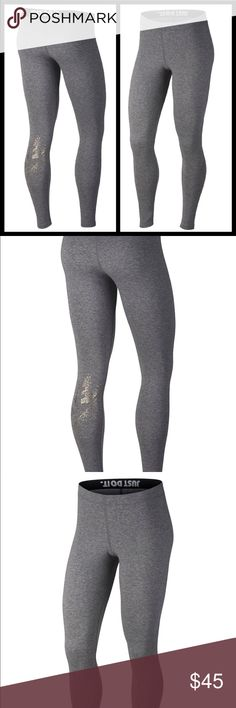 """Nike metallic logo leggings A metallic print at calf gives this leggings stylish sleek look Dri-fit wicking technology  Full length approx inseam 28"""" Elastic waist band  Cotton, polyester, and spandex Stretch fit for a curve hugging comfort fit  Brand new with tags authentic. Please know sizing in Nike products before purchase Prices are firm on all Nike products Nike Pants Leggings"""