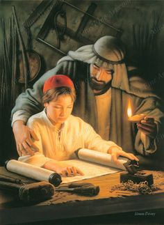Growing in Wisdom by Simon Dewey ~ Jesus as young boy studying the Torah with his earthly father, Joseph