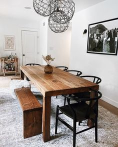 31 Stunning Small Dining Room Ideas You Will Love - Just because all you have is a small kitchen, that does not excuse your from bringing room's advantage. The call of small dining room tables had happe. Dining Room Table Decor, Wooden Dining Tables, Modern Dining Table, Small Dining, Dining Room Design, Farm Tables, Dining Area, Rustic Table, Farm Dining Table