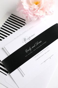 Classic vintage wedding invitations in black and white with stripes accents