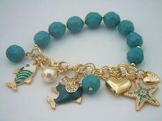 Gorgeous Blue Bead Heart Dolphin Charm Bracelet Geek Jewelry, Gothic Jewelry, Ankle Bracelets, Beaded Bracelets, Bracelets With Charms, Jewelry Necklaces, Dolphin Jewelry, Bracelet Crafts, Homemade Jewelry