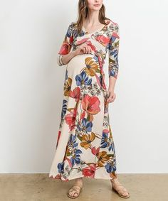 4e6d7eed15b93 Hello Miz Maternity | Ivory Floral Maternity/Nursing Maxi Dress Modest  Dresses, Maternity Dresses