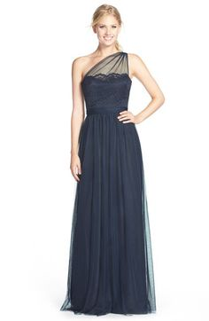 Amsale Amsale One-Shoulder Lace & Tulle Gown available at #Nordstrom