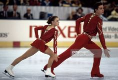 Sergei Grinkov and Ekaterina Gordeeva of Russia performing in the pairs skating event during the World Figure Skating Championships in Cincinnati, Ohio, circa March 1987.
